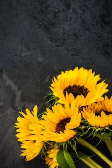 灰色のグランジ背景、秋のコンセプトに黄色のひまわり