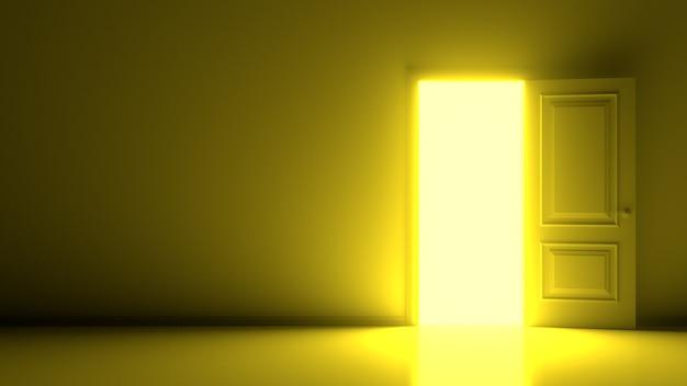 Желтый солнечный свет внутри открытой белой двери на теплой стене