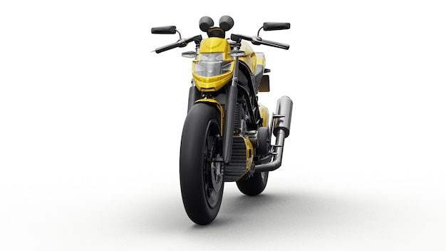 Желтый супер спортивный мотоцикл на белом фоне. 3d иллюстрации.