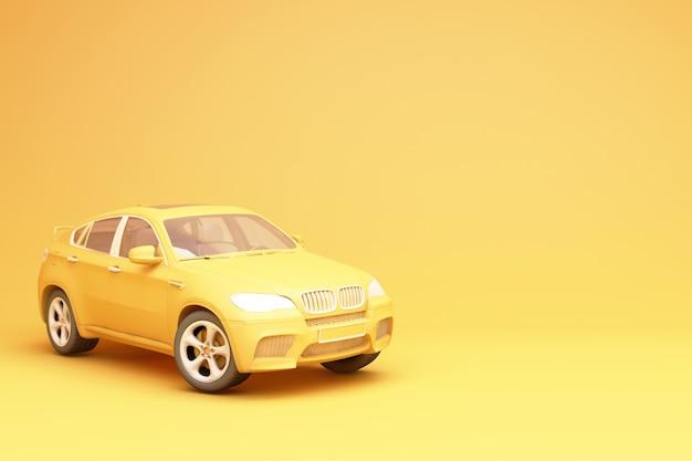 Желтый внедорожник 3d рендеринг