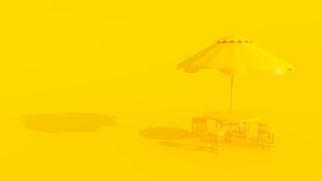 黄色のテーブルと傘の最小限の色。
