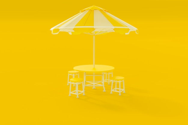 Yellow table and chairs and umbrella