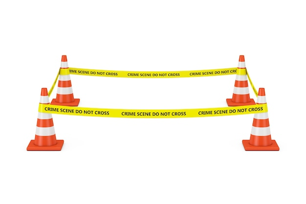 Yellow tape do not cross police line with road cones on a white background. 3d rendering