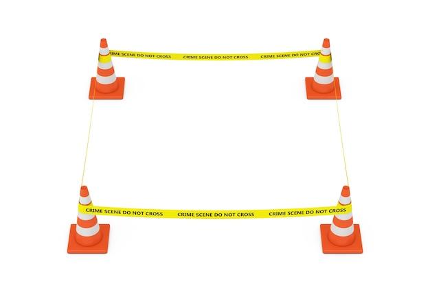 노란색 테이프는 흰색 배경에 도로 콘이 있는 경찰선을 넘지 마십시오. 3d 렌더링
