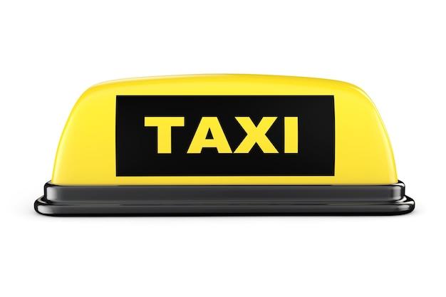 Желтый знак на крыше автомобиля такси на белом фоне