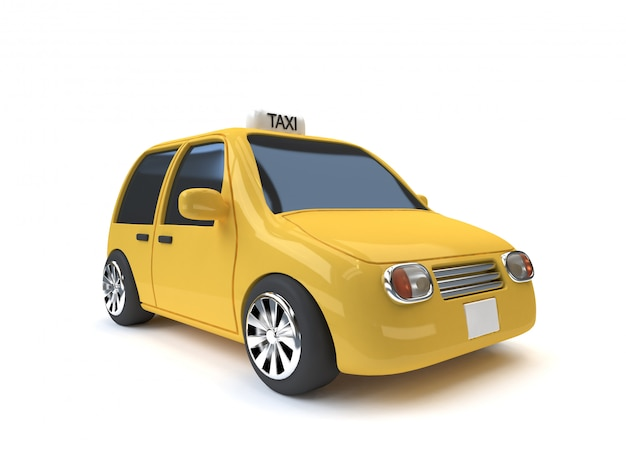 Yellow taxi mini-eco car style white  3d rendering cartoon style