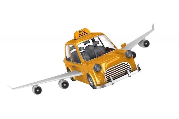 흰색 바탕에 노란색 택시입니다. 격리 된 3d 그림