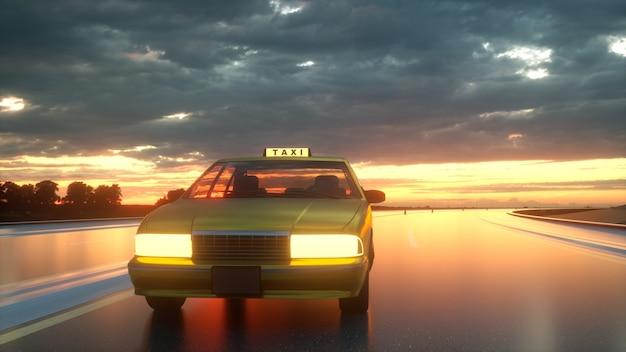 Желтое такси едет по шоссе