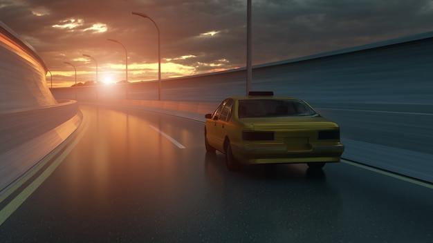 Yellow taxi rides on the road highway