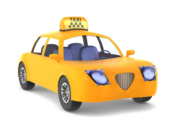 Yellow taxi on white background. isolated  image