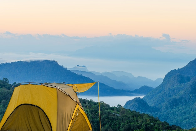 Yellow tent at doi ang khang, ang khang mountain, chiang mai, thailand.