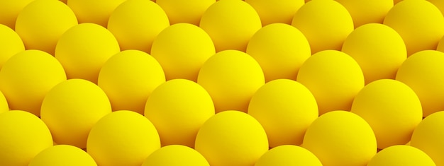 Yellow texture with repeated round bumps, spheric background, 3d rendering, panoramic image