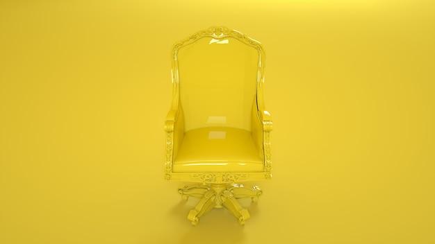 노란색에 노란색 왕좌 안락의 자입니다. 3d 그림.