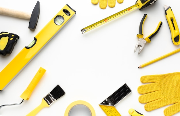 Yellow tools frame with copy space