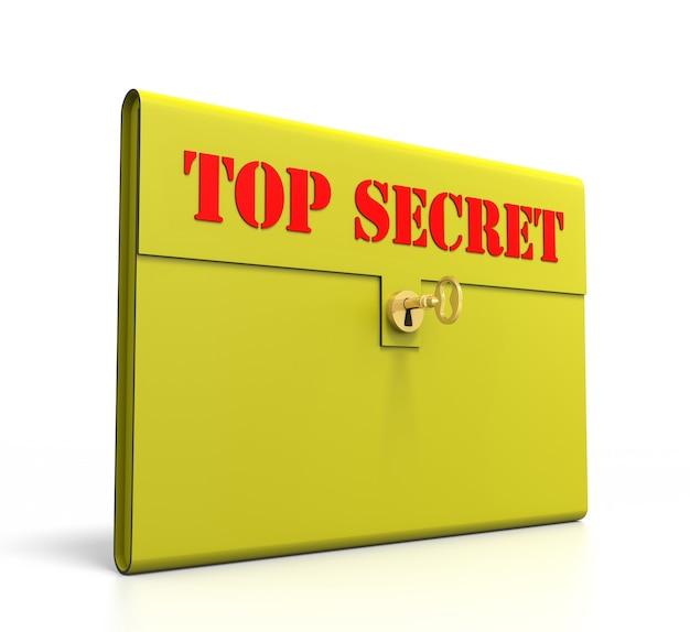 노란색 일급 비밀 서류 가방. 흰색 배경에 고립