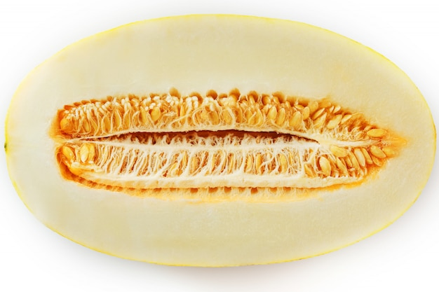 Yellow torpedo melon on white