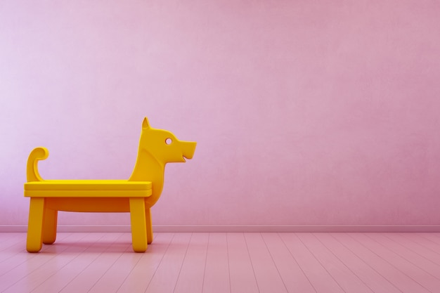 Yellow toy dog on wooden floor in kids room of modern house with empty pink concrete wall