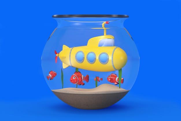水族館の黄色いおもちゃの潜水艦は、青い背景に魚と一緒に水中を泳ぎます。 3dレンダリング