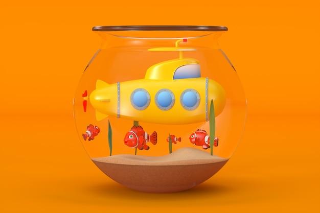 水族館の黄色いおもちゃの潜水艦は、オレンジ色の背景に魚と一緒に水中を泳ぎます。 3dレンダリング