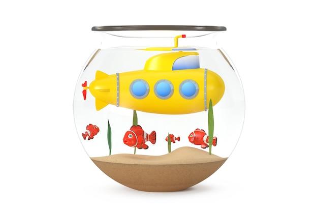 水族館の黄色いおもちゃの潜水艦は、白い背景の上の魚と一緒に水中を泳ぎます。 3dレンダリング
