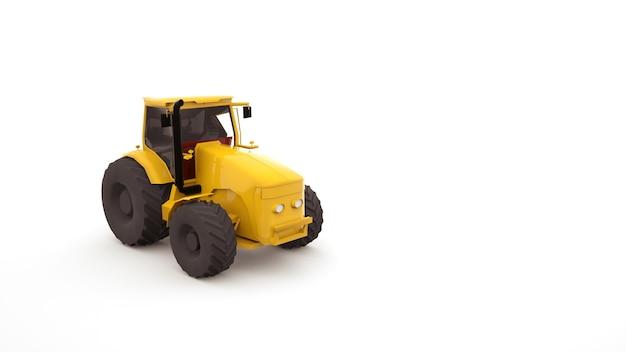 大きな車輪が付いている黄色いトラクター。農業機械、産業機械。 3d画像。白い背景で隔離のイラストオブジェクト。