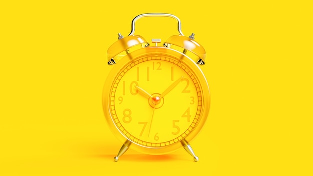Yellow transparent alarm clock, 3d render.