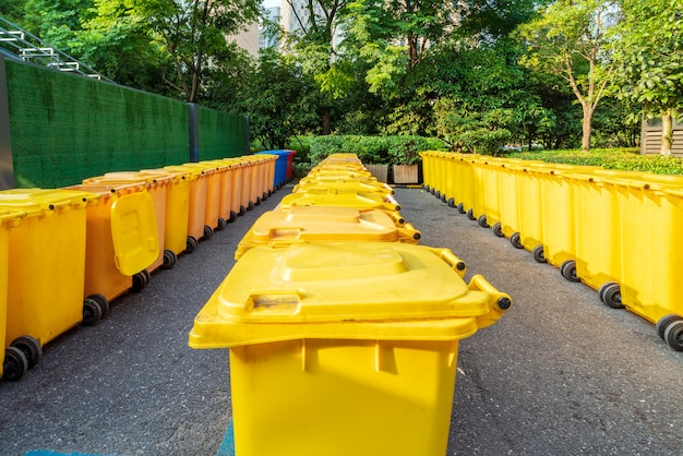 Yellow trash can