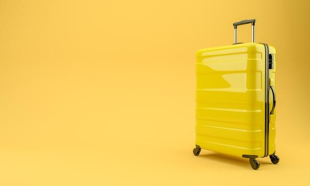 노란색 벽에 노란색 여행 가방입니다. 3d 렌더링 그림.