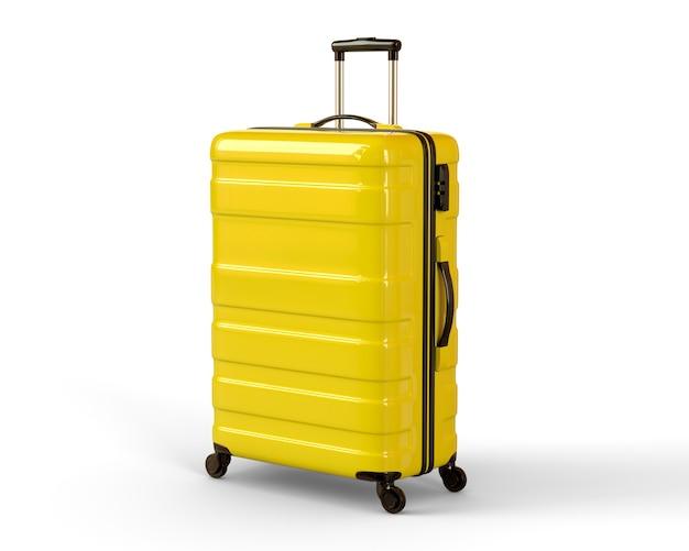 白い壁に黄色の旅行スーツケース。 3dレンダリングのイラスト。