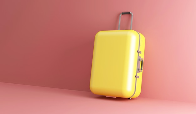 Yellow travel suitcase on pink studio background