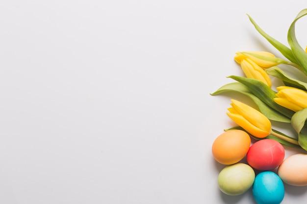 黄色のチューリップと色の付いた卵