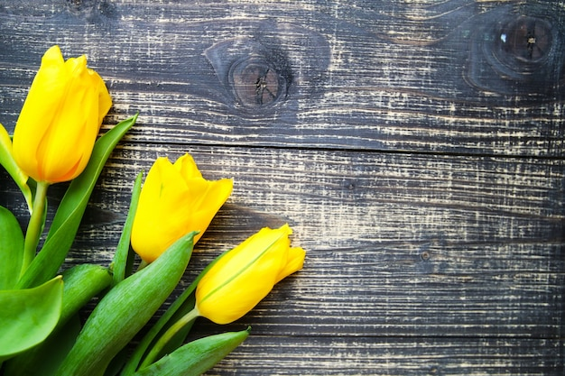Yellow tulips lie on old vintage wooden table
