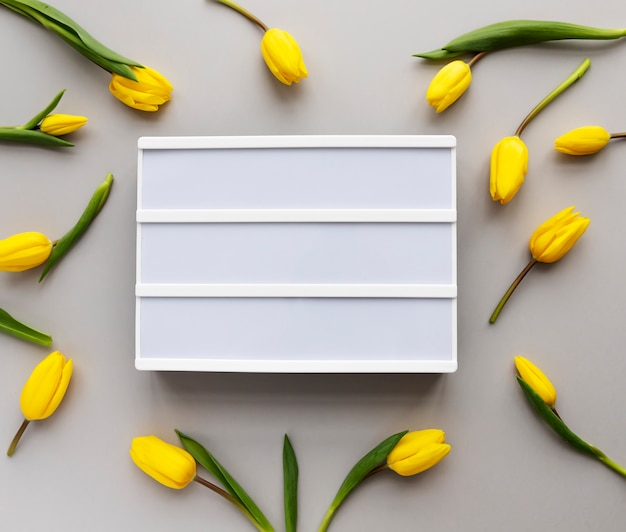 Yellow tulips and lightbox with place for text on 2021 color background.