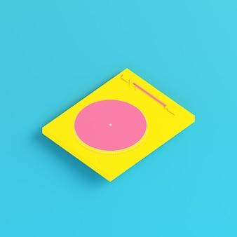 파스텔 색상의 밝은 파란색 배경에 노란색 턴테이블. 미니멀리즘 개념입니다. 3d 렌더링