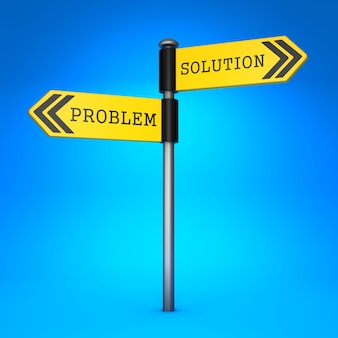 Yellow two-way direction sign with the words problem and solution. concept of choice.