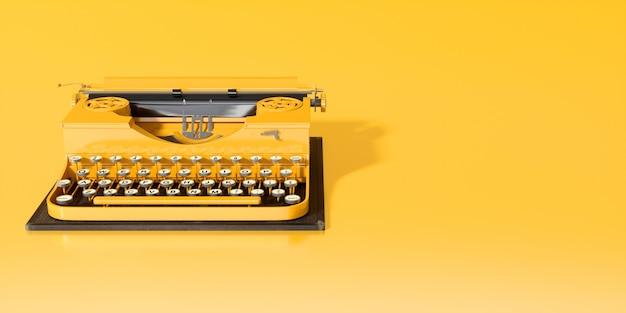 3dイラストの黄色の背景のクローズアップに黄色のタイプライター