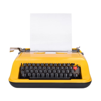 Yellow typewriter with copy space