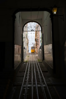 Yellow typical bica elevator in lisbon, portugal.