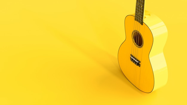 Yellow ukulele standing up