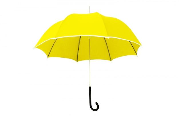 Yellow umbrella isolated on white