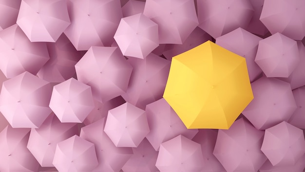 Yellow umbrella on the of many pink violet umbrellas. 3d illustration.