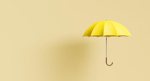 베이지색 배경에 그림자와 텍스트를 위한 공간이 있는 노란색 우산. 최소한의 가을과 겨울 개념. 3d 렌더링