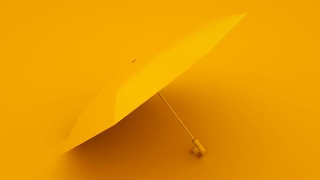 노란색 배경에 노란색 우산입니다. 여름 개념입니다. 3d 그림입니다.