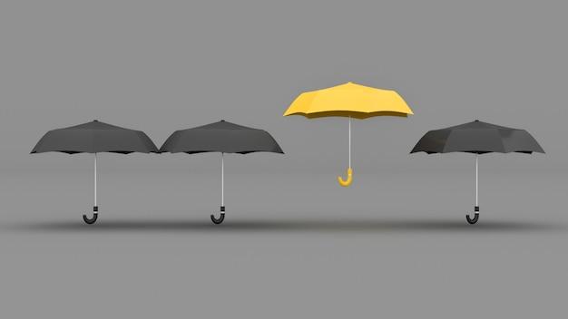 Желтый зонтик возвышается над черными зонтиками, 3d иллюстрация