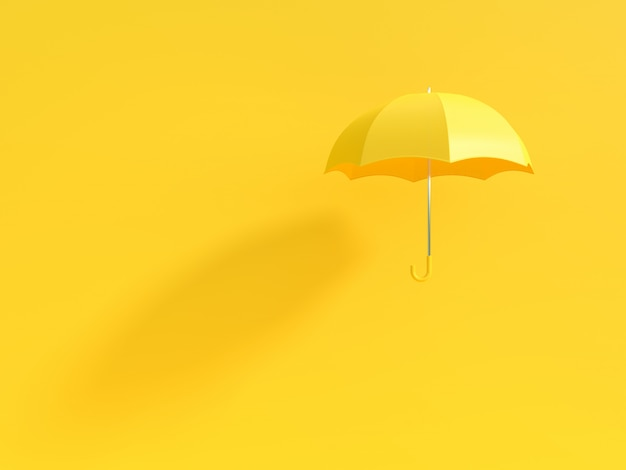 Yellow umbrella with shadow on yellow