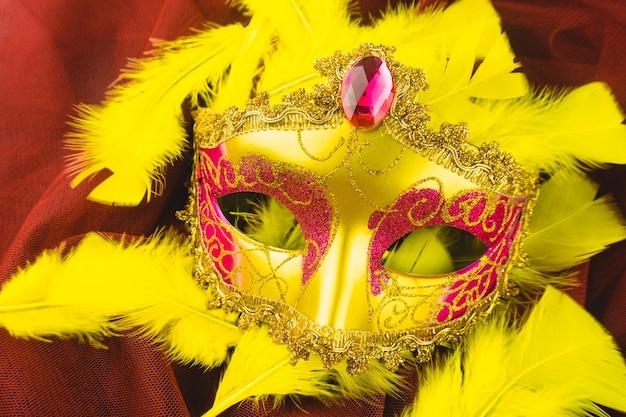 노란 깃털에 노란 베네 치안 마스크