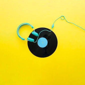 Yellow vintage music concept with headphones
