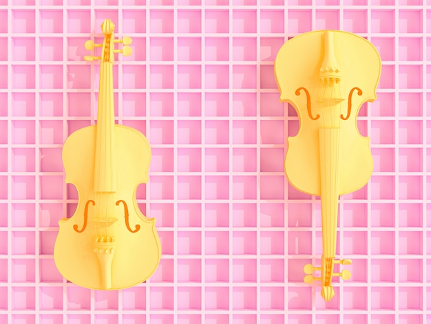 Yellow violins on pink geometric 3d background, flat ray