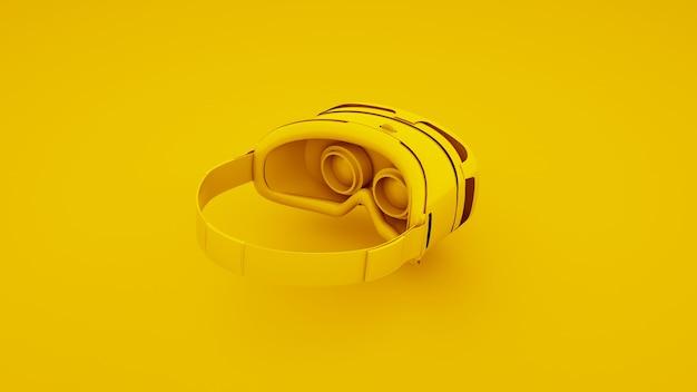 Yellow virtual reality glasses. 3d illustration.