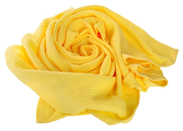 Yellow waffle towel folded in the shape of roses on white background